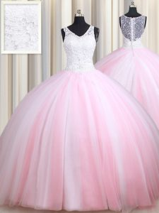 Dynamic Ball Gowns 15th Birthday Dress Pink And White Straps Tulle Sleeveless Floor Length Zipper