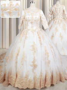 White Zipper Scoop Beading and Lace and Appliques Ball Gown Prom Dress Tulle Half Sleeves Court Train