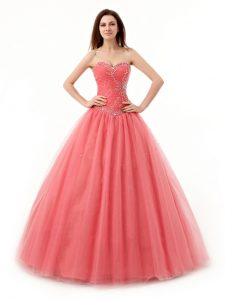 Watermelon Red Tulle Lace Up Sweetheart Sleeveless Floor Length Sweet 16 Dress Beading and Ruching