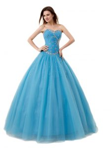 Lovely Floor Length Baby Blue 15 Quinceanera Dress Sweetheart Sleeveless Lace Up