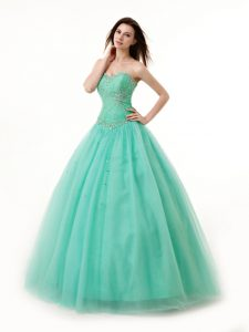 Floor Length Turquoise Quince Ball Gowns Chiffon Sleeveless Beading and Ruching