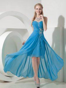 Light Blue High-low Sweetheart Impressive Dama Quinceanera Dresses