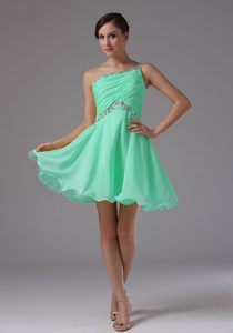 One Shoulder Apple Green Ruched and Beaded Dressy Dresses for Damas