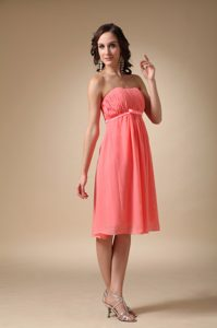 Romantic Watermelon Strapless Short Quince Dama Dresses with Ruches