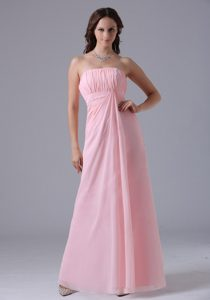 Attractive Baby Pink Ruched Zipper-up Dama Quinceanera Dress for Fall