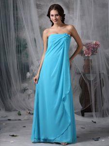 Strapless Baby Blue Chiffon Romantic Quinceanera Dama Dress for 2014