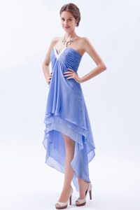 Blue A-line V-neck High-low Chiffon Beaded Dama Dress on Prommotion for Quinceanera