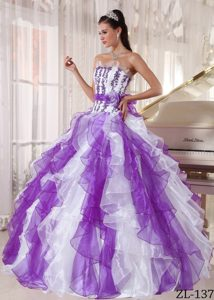 Purple and White Discount Strapless Dresses for Quince with Beading