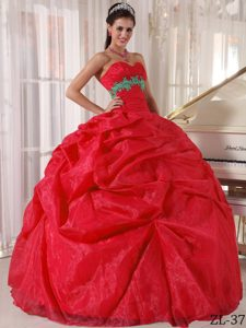Red Ball Gown Sweetheart Quince Gown with Appliques on Promotion