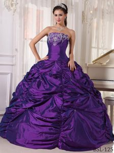 Eggplant Purple Strapless Quinceanera Gown with Embroidery on Sale