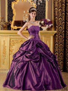 Strapless Discount Taffeta Dresses for Quinceanera in Eggplant Purple
