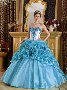 Blue Sweetheart Perfect Ball Gown Sweet Sixteen Dress with Flowers
