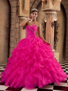 Coral Red Inexpensive Organza Quinceanera Dresses with Ruffles