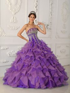 Pretty Strapless Organza Quinces Gowns with Appliques and Ruffles