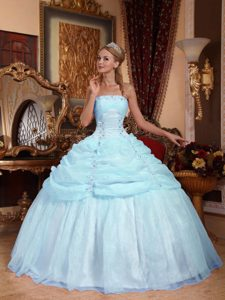 Light Blue Strapless Quinceanera formal Dress with Appliques in Organza