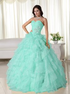 Baby Blue Sweetheart Organza Ruffled Quinceanera Dresses with Appliques