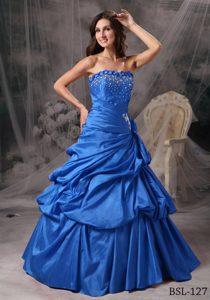 A-line Strapless Floor-length Taffeta Sweet 16 Quinceanera Dresses