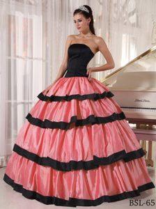 Watermelon Strapless Ruffles Floor-length Taffeta Dresses for 15