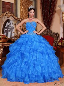 2013 Blue Ball Gown Beading Floor-length Organza Quinceanera Gowns