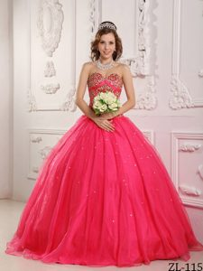 Hot Pink Princess Organza Beading Dress for Quinceanera in 2014