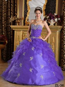 Gorgeous Purple Ruffles Organza Dress for a Quince with Appliques