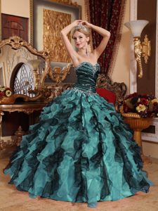 2013 Multi-color Sweetheart Organza Beaded and Ruffled Sweet 16 Dresses
