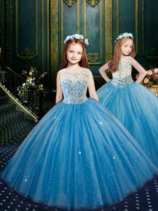 Scoop Floor Length Ball Gowns Sleeveless Blue Child Pageant Dress Clasp Handle