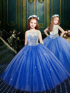 Scoop Clasp Handle Tulle Sleeveless Floor Length Little Girl Pageant Gowns and Appliques