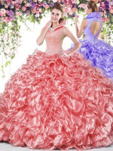 Colorful Coral Red High-neck Neckline Beading and Ruffles Sweet 16 Dress Sleeveless Backless