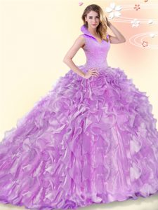 Fantastic Lilac Sleeveless Beading and Ruffles Backless Quinceanera Dress