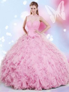 Cute Halter Top Sleeveless Quince Ball Gowns Floor Length Beading and Ruffles Rose Pink Tulle