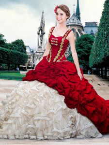 Perfect Straps White And Red Lace Up Quinceanera Gowns Beading and Ruffles and Pick Ups Sleeveless With Brush Train