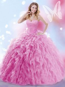 Attractive Rose Pink Sleeveless Tulle Brush Train Lace Up 15 Quinceanera Dress for Military Ball and Sweet 16 and Quinceanera