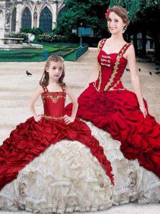 Superior Pick Ups Straps Sleeveless Brush Train Lace Up 15th Birthday Dress White And Red Organza and Taffeta