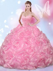 Designer Fabric With Rolling Flowers Sleeveless Floor Length Sweet 16 Dresses and Beading