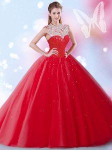 Best Red High-neck Neckline Beading and Sequins Vestidos de Quinceanera Sleeveless Zipper