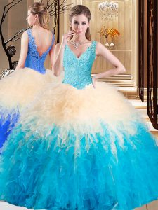 Sweet Sleeveless Floor Length Appliques and Ruffles Zipper Quince Ball Gowns with Multi-color