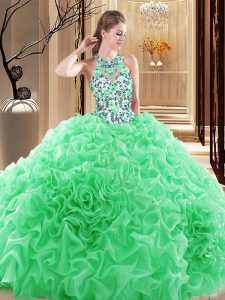 Suitable Organza High-neck Sleeveless Brush Train Backless Embroidery and Ruffles Quinceanera Gowns in
