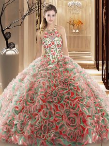 Fitting Multi-color Ball Gowns High-neck Sleeveless Fabric With Rolling Flowers Brush Train Criss Cross Ruffles and Pattern Quinceanera Dresses