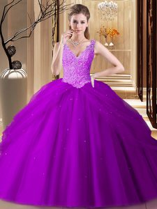 Sophisticated Floor Length Backless Quinceanera Gown Purple for Military Ball and Sweet 16 and Quinceanera with Appliques and Pick Ups