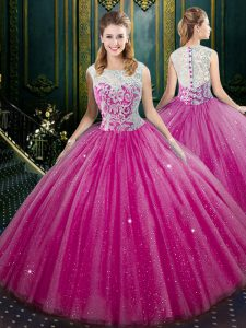 Perfect Fuchsia Tulle Zipper High-neck Sleeveless Floor Length Sweet 16 Dress Lace