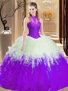 Ball Gowns 15 Quinceanera Dress White And Purple High-neck Tulle Sleeveless Floor Length Lace Up