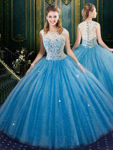 Custom Fit High-neck Sleeveless Zipper Quince Ball Gowns Blue Tulle