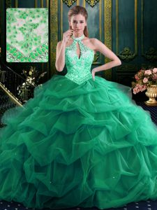 Noble Halter Top Sleeveless Quince Ball Gowns Floor Length Beading and Ruffles and Pick Ups Dark Green Organza and Tulle