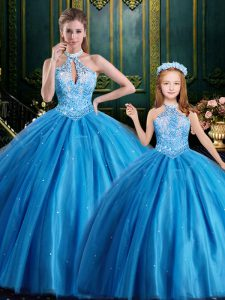 Halter Top Sleeveless Lace Up Floor Length Beading and Appliques Sweet 16 Dresses