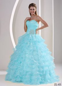 Exquisite Ruched and Beaded Baby Blue Quinceanera Dresses with Ruffles