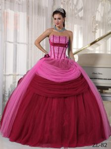 Fabulous Strapless Floor-length Tulle Quinceanera Dress in Two-toned Red