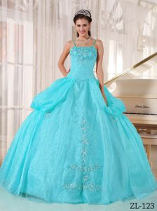 Romantic Spaghetti Organza Aqua Blue Sweet Sixteen Dresses for Spring