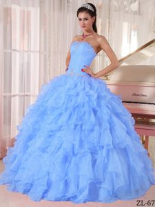 Attractive Floor-length Organza Light Blue Quinceaneras Dress for Spring