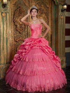 Coral Red Taffeta and Tulle Best Seller Sweet Sixteen Quinceanera Dresses